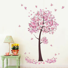 Pink Flowers Tree Removable Wall Sticker Livingroom Bedroom Home Decal Novelty
