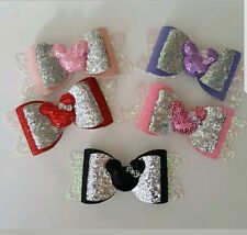 3.5 Inch Minnie Mouse and Glitter Hair Bow