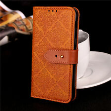 Vintage Flower Embossed Leather Flip Wallet Case Stand Cover For Samsung iPhone