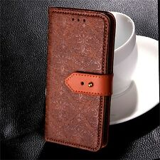 Flower Embossed Patterns Flip Leather Wallet Case Stand Cover For iPhone Samsung