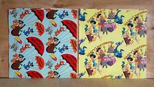 1960's lot  2 HANNA BARBERA wrapping paper sheets FLINTSTONES and YOGI BEAR rare