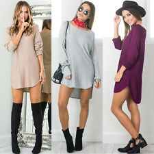 UK Women Summer Long Sleeve Loose Casual Tops T Shirt Blouse Short Mini Dress UK