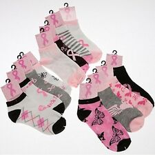 TOPStuffsz- PINK RIBBON Ankle Socks Breast Cancer Awareness Socks, Size 9-11