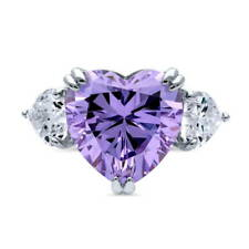 BERRICLE 925 Silver Heart Shaped Purple Cubic Zirconia CZ 3-Stone Cocktail Ring