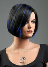 Ladies Short Wig Black Blue Mix Synthetic Hair Bob Fashion Cosplay Full Wigs