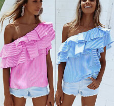 Fashion Womens Off-shoulder Short Sleeve Casual Blouse Loose Cotton Top T-Shirt