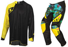 NO FEAR GREED MOTOCROSS MX KIT PANTS with ONE INDUSTRIES SOLID JERSEY BLK / YEL