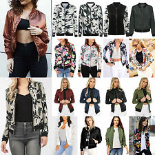 Womens Classic Bomber Jacket Retro Floral Zip Up Biker Short Coat Outerwear Suit