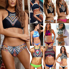 Halter High Neck Women Bikini Push-Up Crop Top Bathing Beach Swimwear Swimsuit