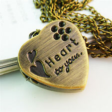 Necklace Retro Heart-shaped Slide the watch 1Pcs Long New Bear Bronze Pendant