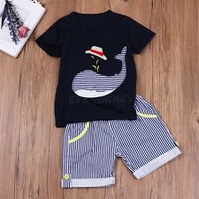 Baby Kids Boy Cute Whale Clothes Summer T-Shirt+Pants Shorts Clothing Set Outfit
