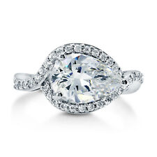 BERRICLE Sterling Silver Pear Cut CZ Solitaire Engagement Ring 3.34 Carat