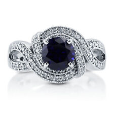 BERRICLE Sterling Silver Simulated Blue Sapphire CZ Woven Art Deco Ring