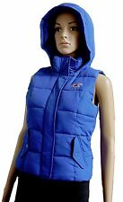 Hollister Women's Sleeveless Royal Blue Puffer hooded Vest Jacket -Size Choices