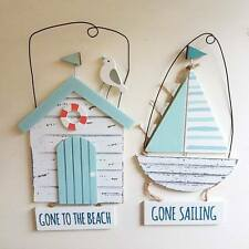 BLUE & WHITE WOODEN GONE SAILING TO THE BEACH CHIC N SHABBY NAUTICAL BEACH HUT