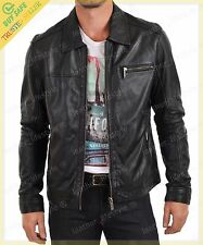 Men's Real Lambskin Black Leather Motorcycle Jacket Slim fit Biker Jacket  AM108