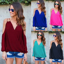 Sexy Women Off Shoulder V-Neck Cross T-Shirt Chiffon Long Sleeve Blouse Tops