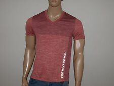 Armani Exchange Authentic Reflective  Logo Jumper V Neck T Shirt Faded Red NWT