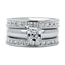 BERRICLE Silver Princess Cubic Zirconia CZ Solitaire Engagement Ring Set 4.6 CTW