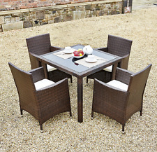 Rattan Outdoor Garden Furniture Dining Table Set 4 Chairs Conservatory Patio UK