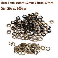 20/100 Sets 8/10/12/14/17mm Brass Eyelets Shoes Craft Belts Bags Leather Fabric