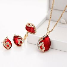 Women Fashion Crystal Peacock Pendant Necklace Earrings Ring Jewelry Set Gift