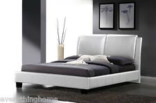 MODERN QUEEN OR KING BED FRAME WHITE FAUX LEATHER UPHOLSTERED 'PILLOW' HEADBOARD