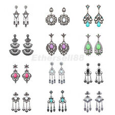 Women Boho Vintage Metal Flower Crystal Tassel Dangle Earrings Ear Studs Jewelry