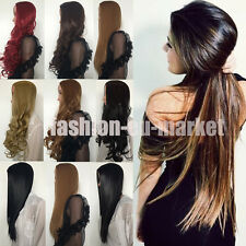 Fashion Womens 3/4 Full Wig Hair Cosplay Full Wigs Straight Curly Synthetic UK