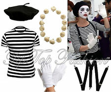 Mens French Man Mime Artist FancyDress TShirt Beret Braces Gloves Costume Outfit