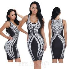 Elegant Women's Evening Party Bodycon Pencil Dresses Midi Striped Cocktail Dress