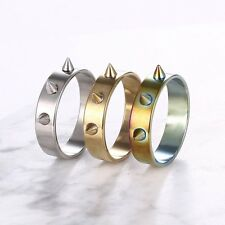 Women Men Cool Silver/Gold/Colorful Titanium Steel Band Ring Charm Jewelry Gift