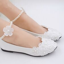 Lace White Ankle Beading Wedding Shoes Bridal Flats Low High Heel Pump Size 3-11