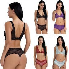 Women Sexy Lace Lingerie Bra Babydoll Underwear Nightwear Sleepwear G-String Set