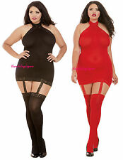 Plus Size HALTER MINI DRESS Sheer ATTACHED GARTERS Stockings LACE Black or RED
