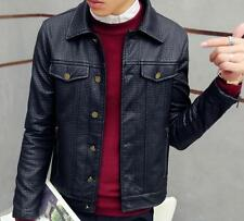 Fashion Mens Slim Fit Motorcycle Jacket Biker Coat Casual Single Breasted Blazer