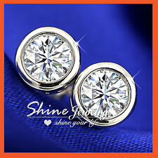 18K WHITE GOLD GF SILVER LAB DIAMOND MENS WOMENS GIRLS BEZEL ROUND STUD EARRINGS