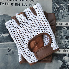 Vintage Style White & Brown Leather Crochet Cycling Gloves Track Mitts L'Eroica