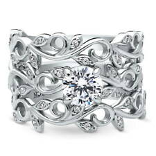 BERRICLE 925 Silver CZ Filigree Leaf Solitaire Engagement Ring Set 1.015 Carat