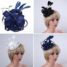 Women Satin Flower Fascinator Feather Cocktail Pillbox Hat Wedding Church Party