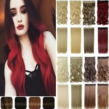 100% Real New Thick Clip In Hair Extension Wavy Curly 5% Human Hair US Sale PC7