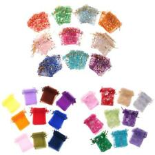 100 pieces Organza Wedding Drawstring Pouches Candy Bags Jewelry Pouches
