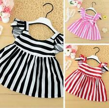Toddle Kids Baby Girls Summer Dress Flying Sleeve Striped Princess Dress 3-8Y