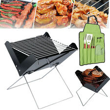 Portable Folding Charcoal Barbecue Grill BBQ Utensil Set Garden Outdoor Camping