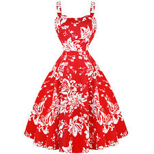 Hearts & Roses London Red White Floral 1950s Vintage Retro Flared Summer Dress