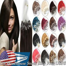"100S Micro Ring Beads Loop Tip Brazilian Remy Human Hair Extensions 16""18""20"" US"