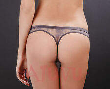 Sheer mesh Thong Sexy see thru Lace Doux Vertige Maison Close Pink Gray