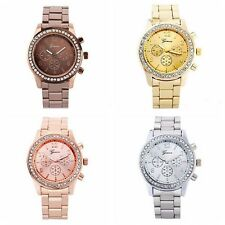 Luxury Lady Women Bling Crystal Stainless Steel Quartz Wrist Watch