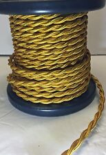 Gold Rayon Cloth Covered Twisted Electrical Wire BULK 8-24FT Lamp Cord Antique