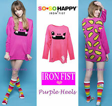 Iron Fist x SO SO Happy Taco Pink Sweater Jumper Cardigan Size M or L